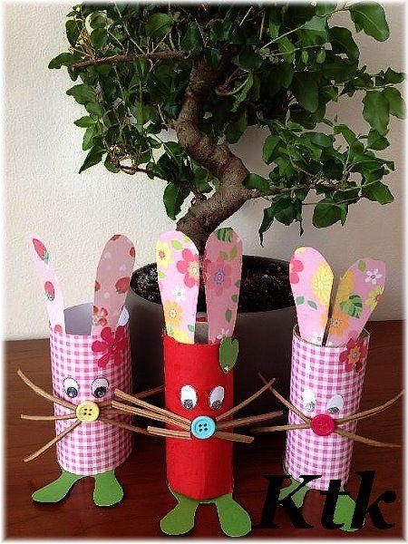 Velikonoční zajíčci, velikonoční tvoření, tvoříme s dětmi jaro, zajíčci z ruliček od toaletního papíru, tvořivá recyklace.