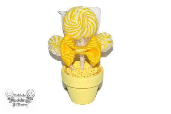 Mini Lollipop giallo arrangiamento, Lollipop favore, favore commestibili, caramelle favore, matrimonio, compleanno, Baby Shower, acquazzone Bridal, favori, Custom