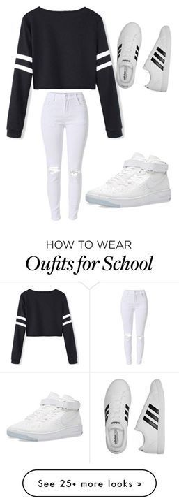 Sudadera negra donde en los lados de las mangas tiene dos rayas blancas,jeans tejanos blancos con alguna obertura y bambas blancas o adidas superstar