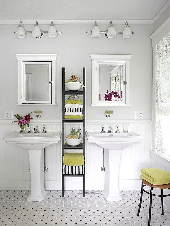clean & pretty: Bathroom Design, Small Bathroom, Bathroom Storage, Pedestal Sinks, Medicine Cabinets, Bathroom Ideas, White Bathroom, Bathroom Decor, Ladder Shelves