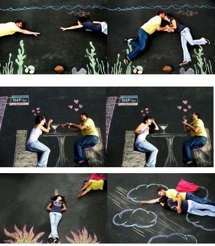 I like the sidewalk chalk idea : Feel free to repin by marla