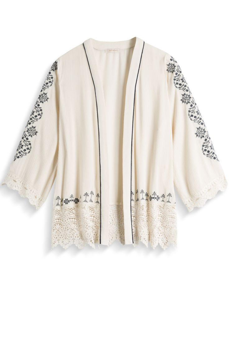 Embroidery Detail Kimono by Skies Are Blue