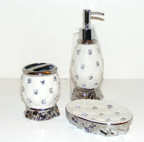 rhinestone diamond bath accessory set quilted cushion