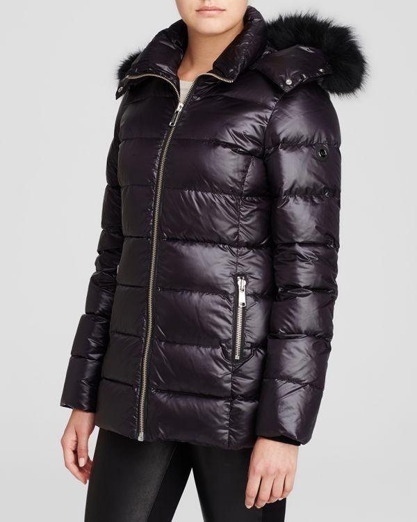 Andrew Marc Fur Trim Hooded Puffer Coat