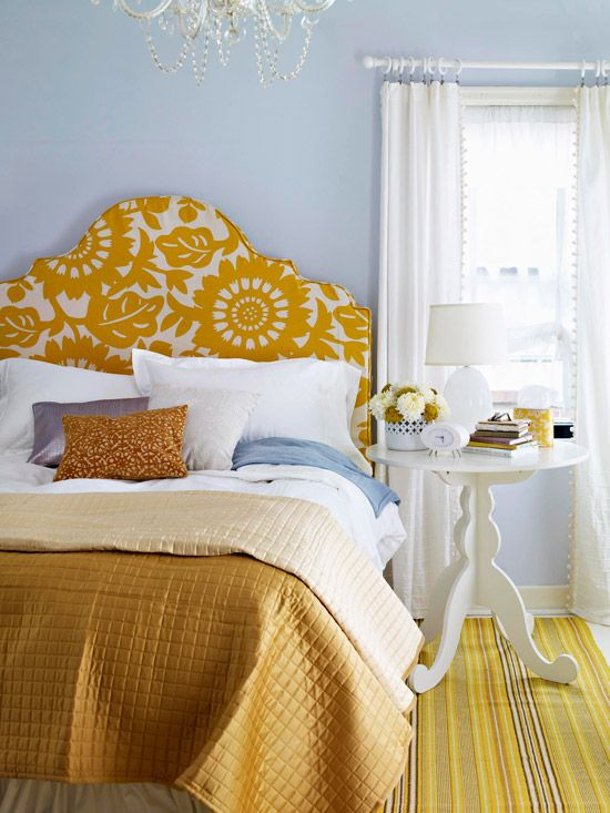 Love the fabric on that headboard (and surprisingly, I like the light blue/gold combo!): Colors Combos, Guest Bedrooms, Blue Wall, Yellow Bedrooms, Colors Schemes, Diy Headboards, Upholstered Headboards, Guest Rooms, Fabrics Headboards