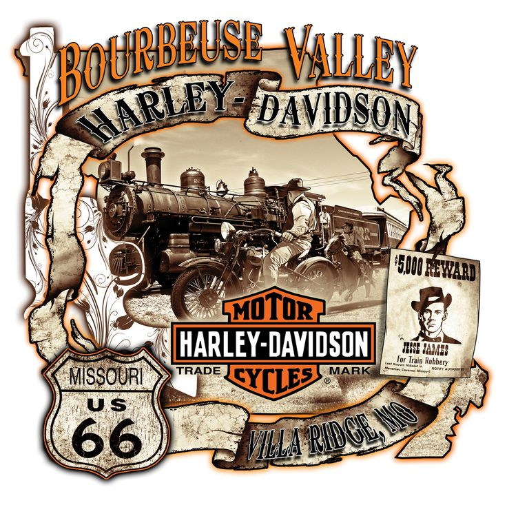 Bourbeuse Valley Harley-Davidson® Jesse James Route 66 logo. You can find this…