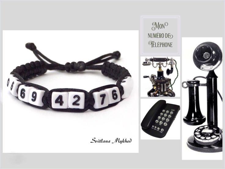 """Bracelet de sécurité """"Mon Numero de telephone"""" (réversible, personnalisable) : Bracelet par perles-et-couronnes"""