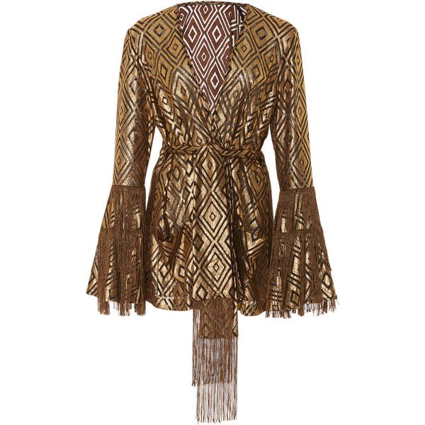 Anna Sui Foiled Diamond Fringe Jacket (34.675 RUB) ❤ liked on Polyvore featuring outerwear, jackets, gold, diamond jackets, anna sui jacket, brown jacket, metallic jackets and fringe jackets