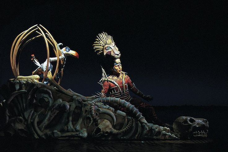 In the musical, Scar is portrayed by a human actor in an African-style costume with a lion-face headpiece mask that comes down over the actor's face using a hidden remote control. Description from lionking.wikia.com. I searched for this on bing.com/images