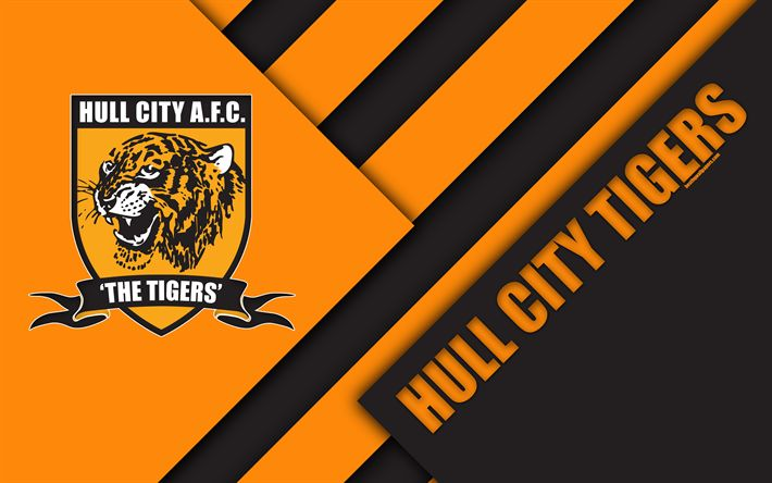 Download wallpapers Hull City Tigers FC, logo, 4k, orange black abstraction, material design, English football club, Kingston upon Hull, England, UK, football, EFL Championship