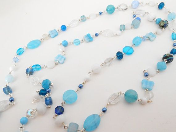 Blue+Beaded+Necklace+Blue+and+White+by+EarthWisdomJewellery