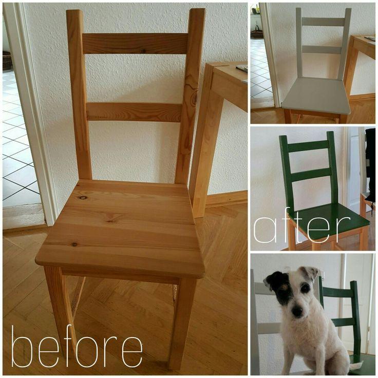 Pimp you chair...einfache Holzstühle mit neuem Anstrich. DIY mit Bürohund Ronja