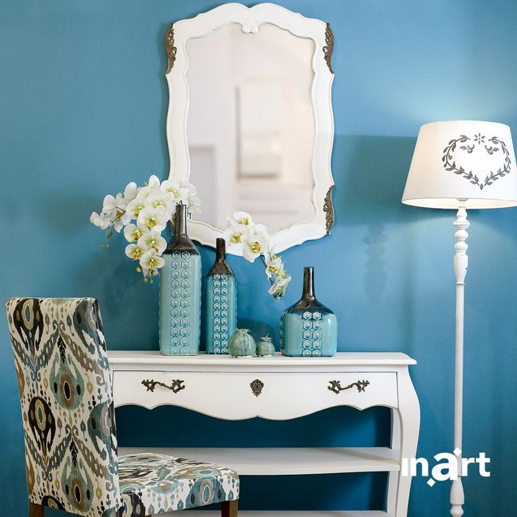 Welcome the Aegean breeze at your home. Sky blue on the wall, bright white on everything else! It's called #inartLiving Discover more at ww.inart.com