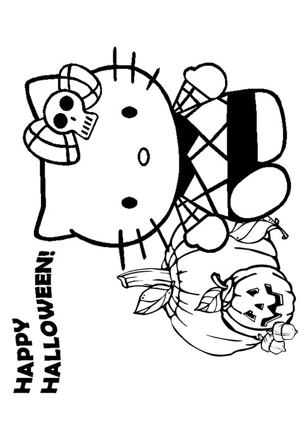 Hello Kitty Halloween Scary Zombie Coloring Page