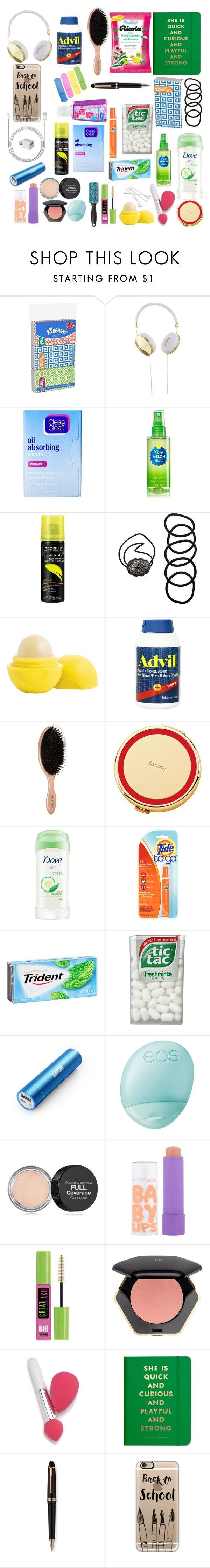 """Back To School Girl's Emergency Kit"" by oliviagallup ❤️ liked on Polyvore featuring Frends, Clean & Clear, TRESemmé️️, Wet Seal, Eos, Kate Spade, Dove, Panasonic, NYX and Maybelline"