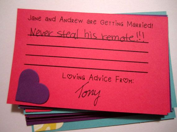 Advice Cards Engagement Party Game Handmade by CraftyTobias, $10.00