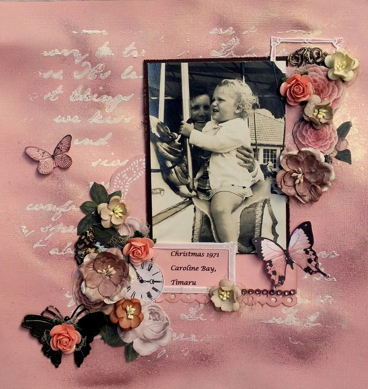 Script Gesso and misted background with kaisercraft collectables for this peach and brown scrapbooking layout