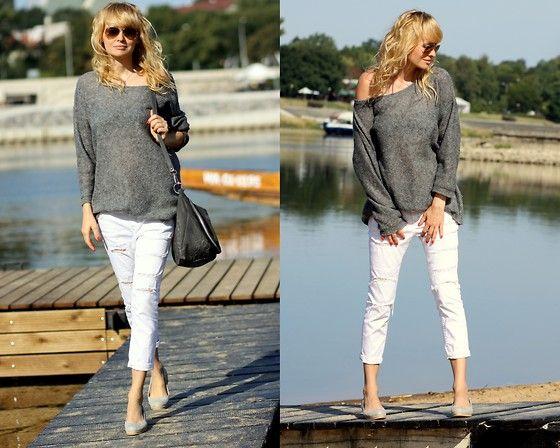 More looks by Marzena Lewandowska: http://lb.nu/stellamonella  #white #grey #gray #wornout #worn #warsaw #polish #sweater #oversize