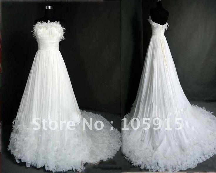 По заказу снег-белый платье-линии империи плиссированные-line суд поезд свадебные платья из органзы HL-298