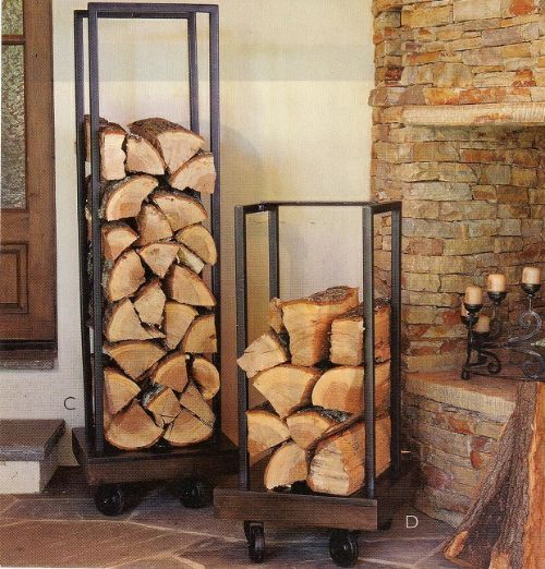 DIY Plumbing Pipe Firewood Holder - easy storage solution for your firewood (even has wheels)... #diy #homesteading