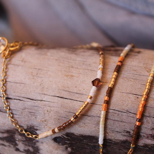 Latelierdesvoisines#bracelet#collier#miyuki#brun-or