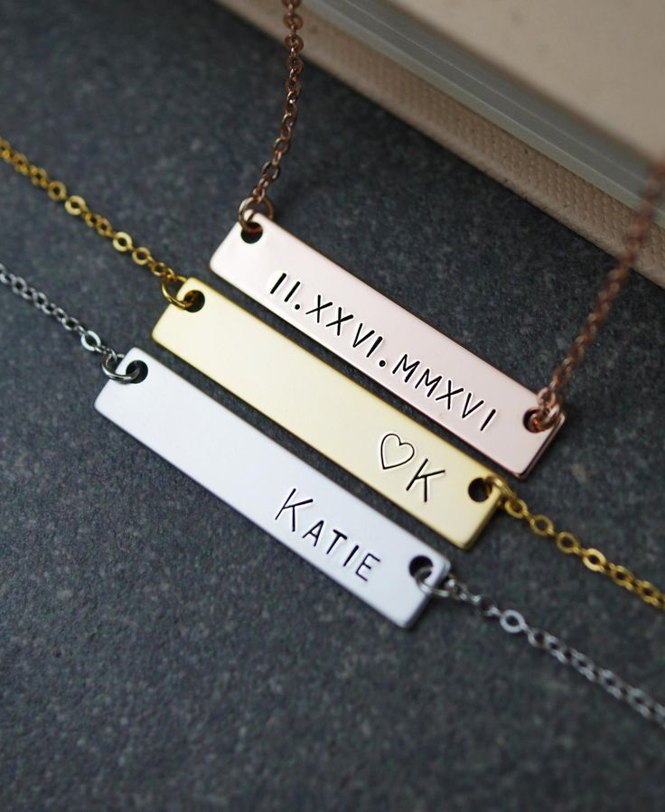 Custom Name Necklace name bar Necklace Personalized necklace Bridesmaid Gifts Christmas gift for her Personalized jewelry monogram jewelry by earringsnation on Etsy https://www.etsy.com/listing/262958057/custom-name-necklace-name-bar-necklace