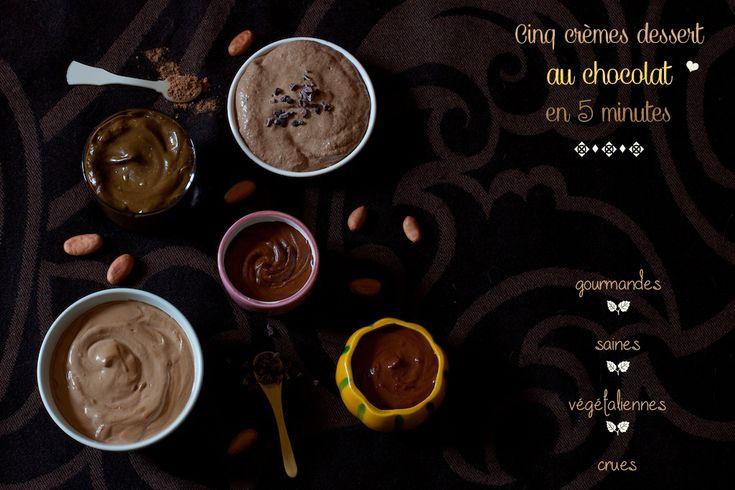 ♥ Réaliser 5 crèmes dessert au chocolat cru en 5 minutes (vegan – cru – raw) sur Chaudron+Pastel+de+Mély