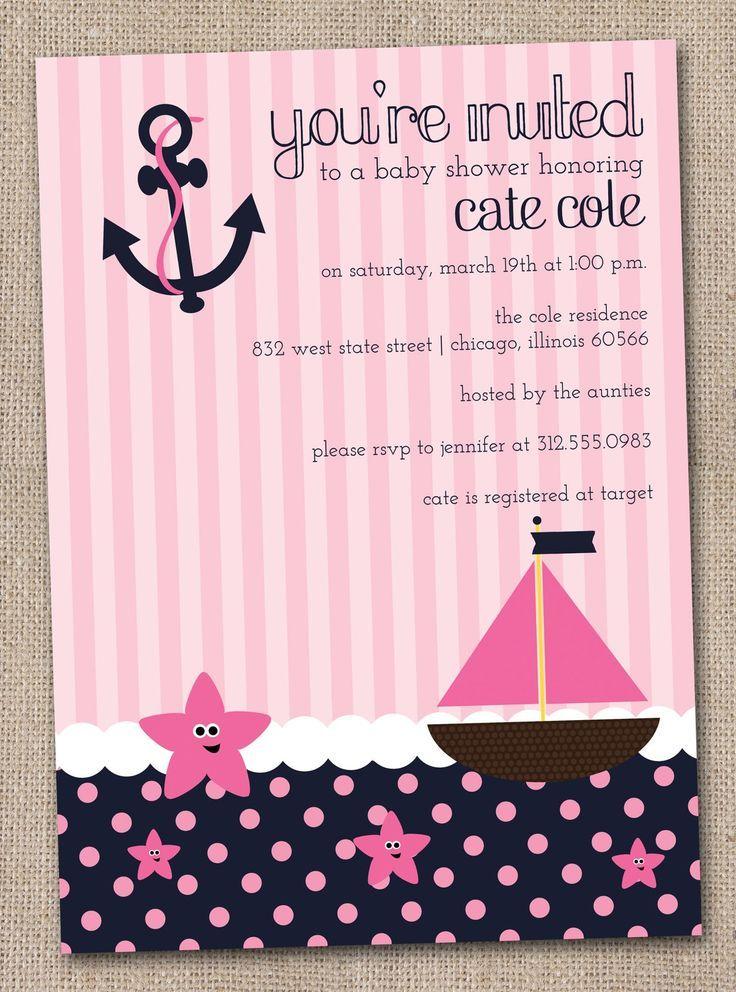 nautical baby girl shower invitations   Nautical Baby Shower Invitations Preppy Pink Yellow and Navy Blue DIY ...