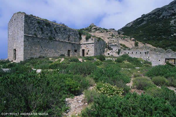 Isola di Montecristo (Toscana, Italia) - i resti del monastero saccheggiato dal saraceno Dragut nel 1553...