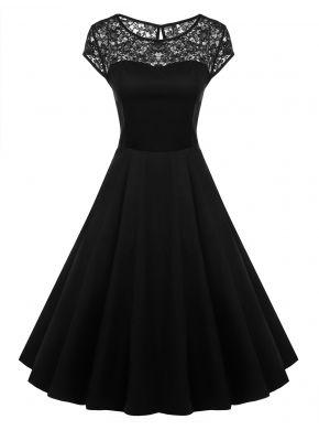 Siyah ACEVOG Cap Kol 1950'li Vintage Stil Dantel Davetiye Midi Parti Elbiseleri