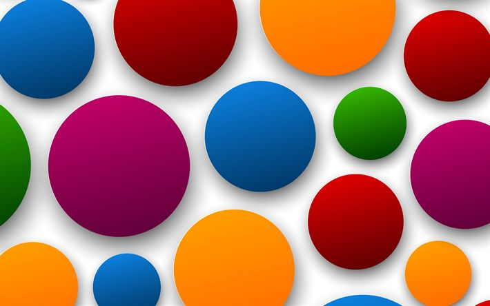 Download wallpapers balls, 4k, circles, white background, art, creative, speech bubbles, material design