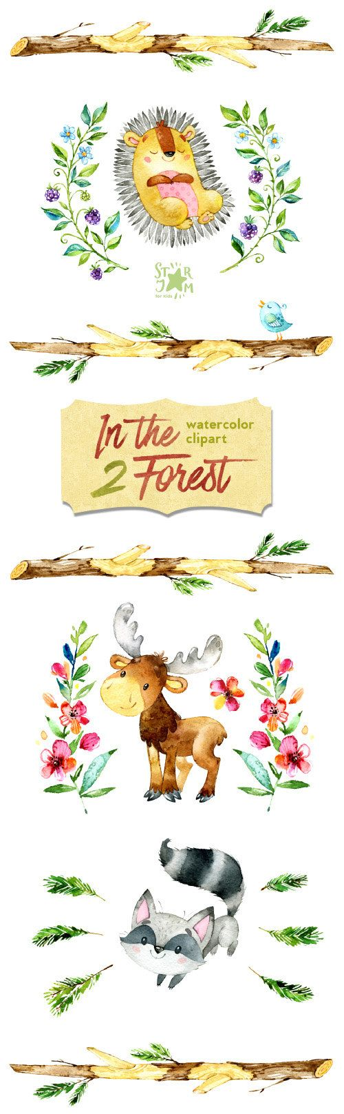 This Second part of Forest animals clipart set is just what you needed for the perfect invitations, craft projects, paper products, party decorations, printable, greetings cards, posters, stationery, scrapbooking, stickers, t-shirts, baby clothes, web designs and much more.  :::::: DETAILS ::::::  This collection includes 29 clipart elements: - 10 animals images in separate PNG files, transparent background, size: 11.3-6.6in (3400-2000px) - 19 Elements in separate PNG files, transparent…