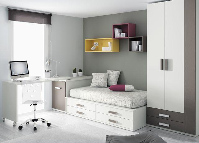 Kids touch 28 dormitorio juvenil juvenil camas compactas y for Cama compacta con escritorio