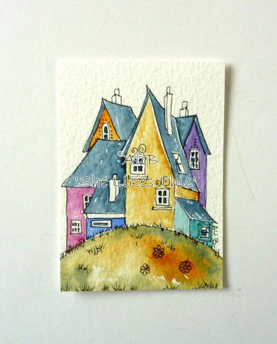 Kleurrijke huizen het platform huis originele aquarel
