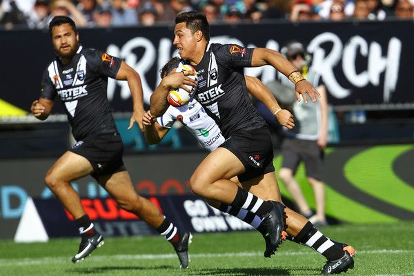 Canberra Raiders Joseph Tapine of New Zealand makes a break during the 2017 Rugby League World Cup match between the New Zealand Kiwis and Scotland at AMI Stadium on November 4, 2017 in Christchurch, New Zealand.