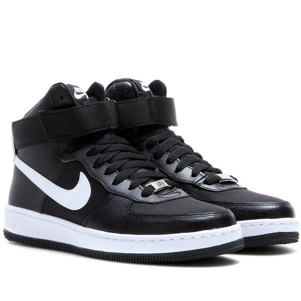 Nike Nike AF-1 Ultra Force Mid Sneakers ($68) ❤ liked on Polyvore featuring shoes, sneakers, black, nike, nike sneakers, nike trainers, black sneakers and nike shoes