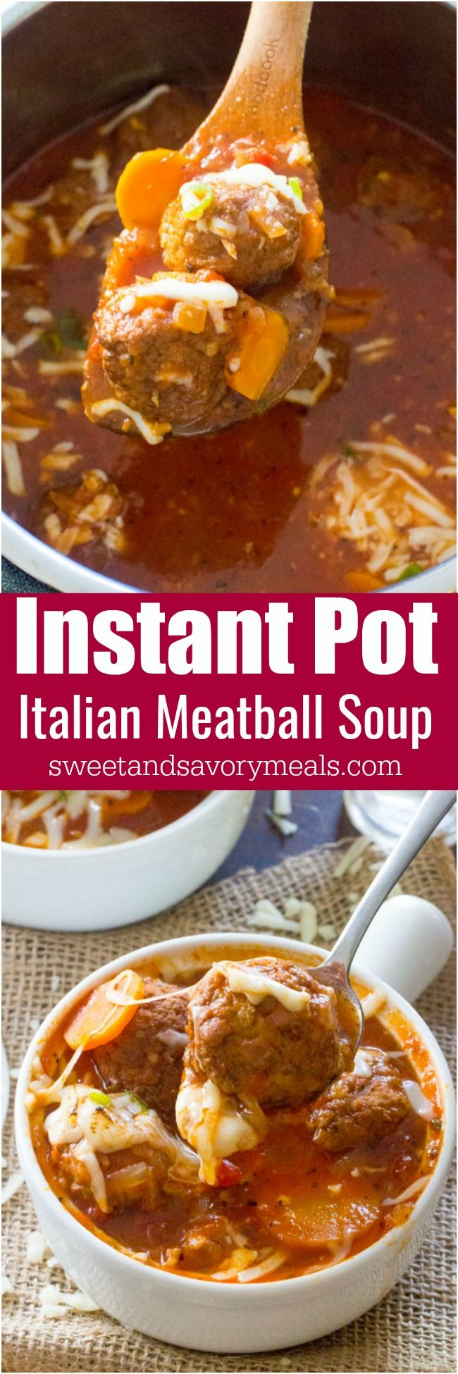 Instant Pot Italian Meatball Soup is easily made in one pot in your Instant Pot, with accessible ingredients and in just 30 minutes. Juicy meatballs cooked in a rich tomato broth. #instantpot #soup