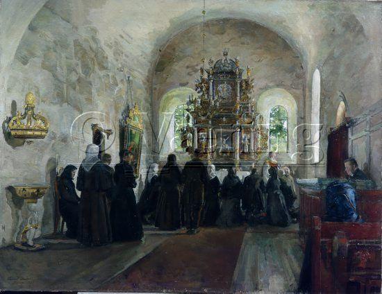Painter : Harriet Backer (1845-1932  Holy communion in Stange church (Norway)