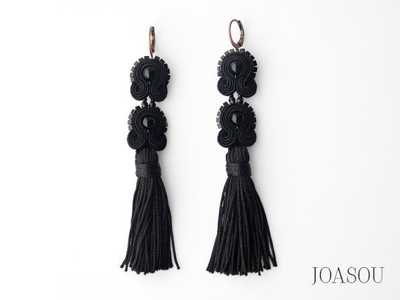 Black tassel earrings, fabric tassel earrings, long black earrings, statement accessories, embroidered earrings, soutache earrings