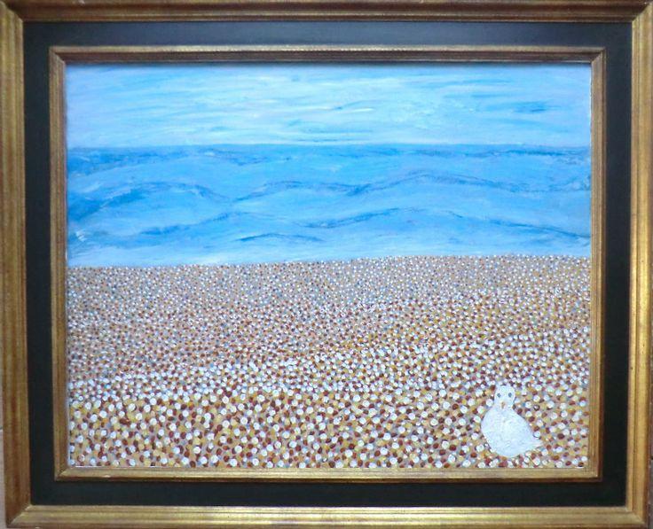 Zeemeeuw in de Haniera 92x114 incl. kader, acryl op linnen Het strand is helemaal voor hem alleen Hij speurt naar vogels, hij ziet en geen Ook geen andere meeuwen in de lucht of in de zee Maar hij voelt zich almachtijg, dus daar zit hij niet mee