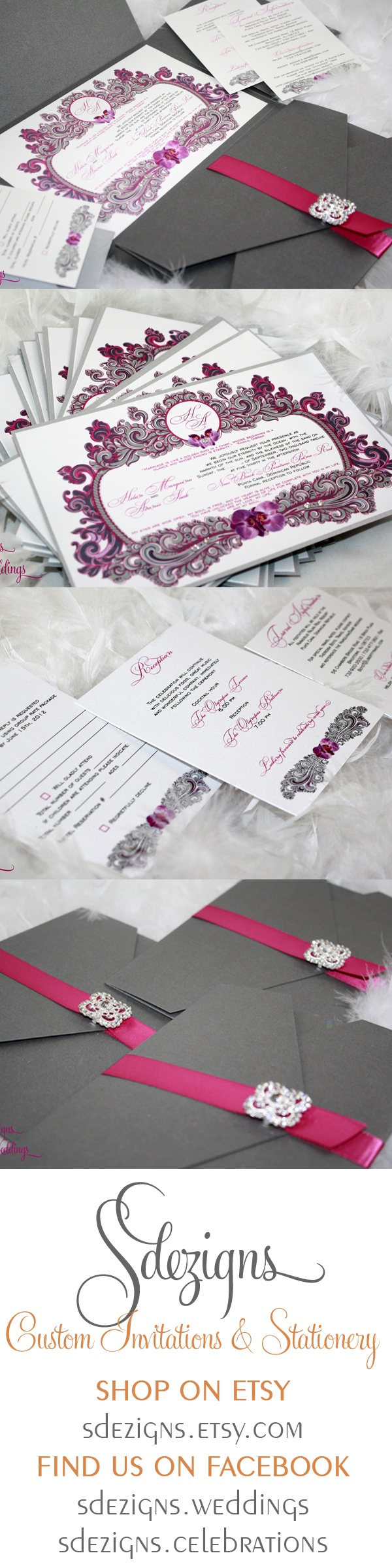 Beautiful swirls and orchids make up this vintage feel design by SDezigns.  #wedding #invitation #nj