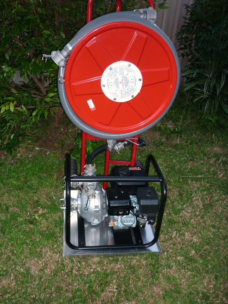 Mobile Bushfire Pump & Hose, can also be used as a high presure wash down hose includes single  impeller fire pump, 36m hose reel, 4m suction line, trolley with run-flat tyres. Prices start from $1395. www.evolvedmaintenance.com.au
