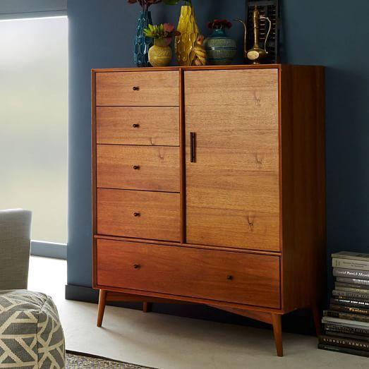 West Elm Mid Century Chifforobe, Acorn – Dressers – Armoires – Wardrobes