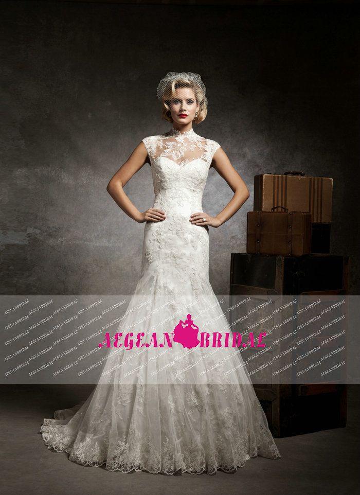 Bw75 классический высокий воротник кепка с кружевными рукавами винтаж свадебное платье, принадлежащий категории Свадебные платья и относящийся к Одежда и аксессуары на сайте AliExpress.com | Alibaba Group