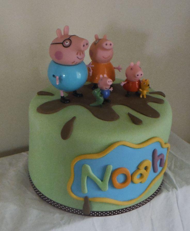 1 Tier Chocolate Mud Cake - Peppa Pig (figurines are plastic)
