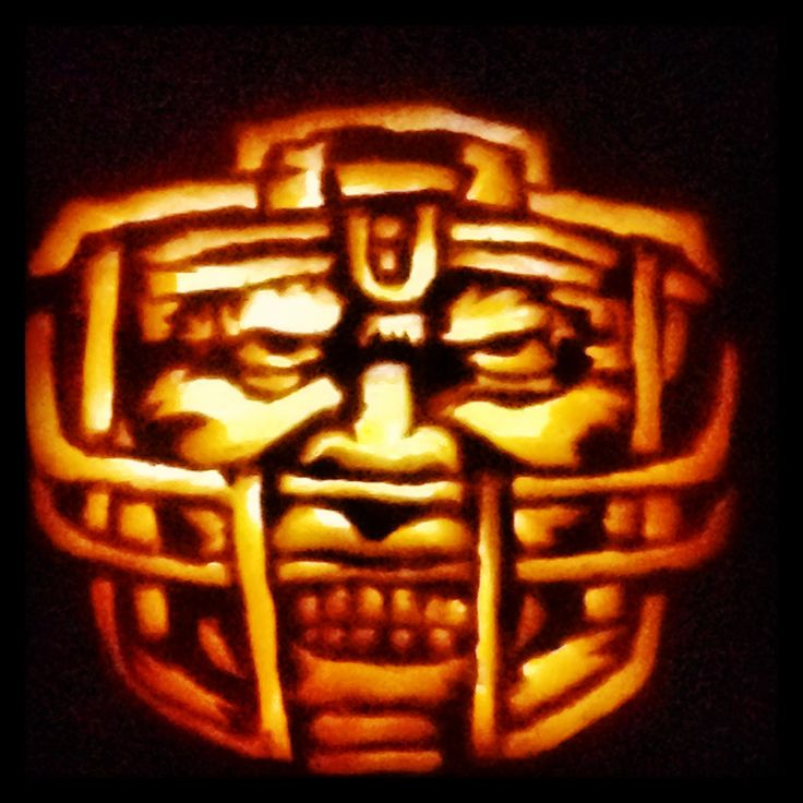 """""""Gridirion Greatness"""", carved from a pumpkin tattoo stick-on pattern! Awesome carving design for football parties - available in the """"Villafane Party Pack""""."""