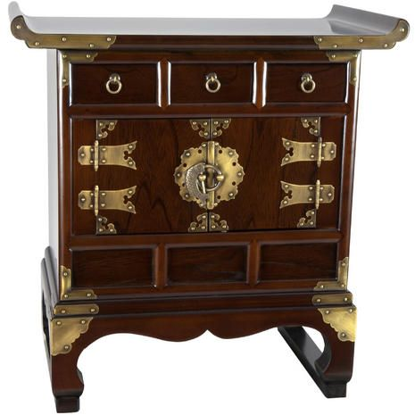 Delightful Korean Antique Style 3 Drawer End Table Cabinet   OrientalFurniture.com