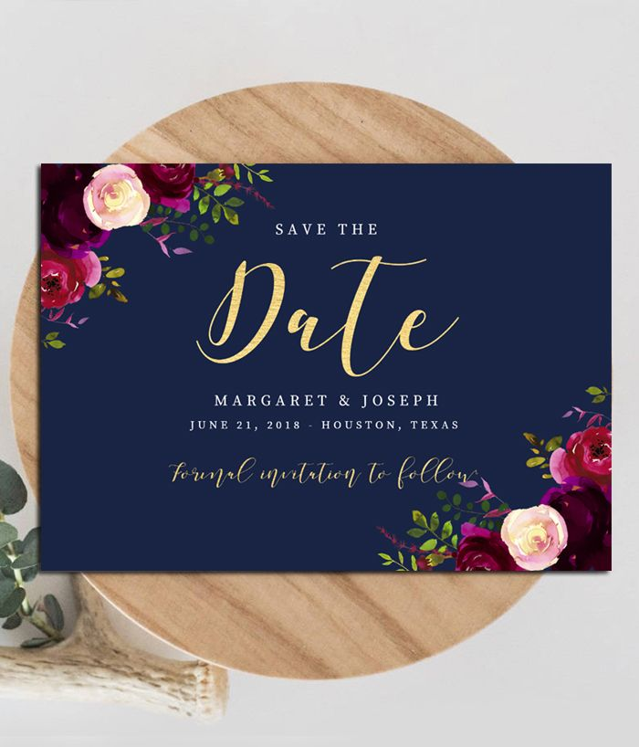 editable wedding save the date template navy marsala burgundy gold