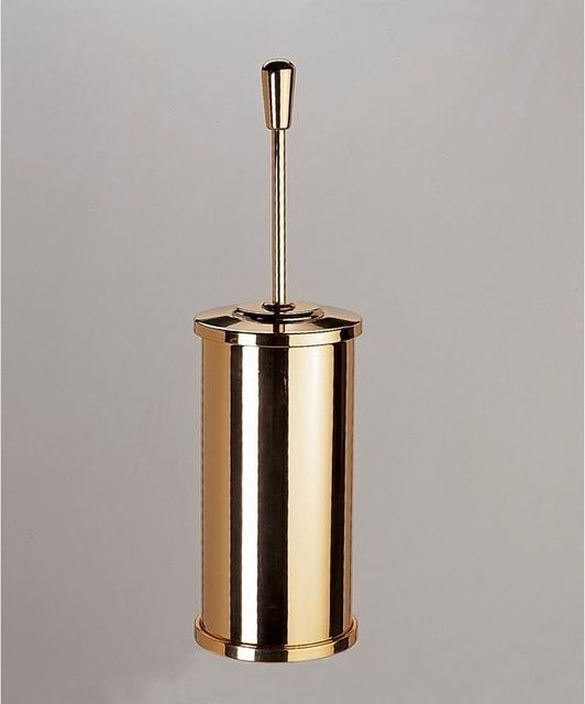 Free Standing Brass Round Toilet Brush Holder With Cover, Satin Nickel contemporary toilet accessories
