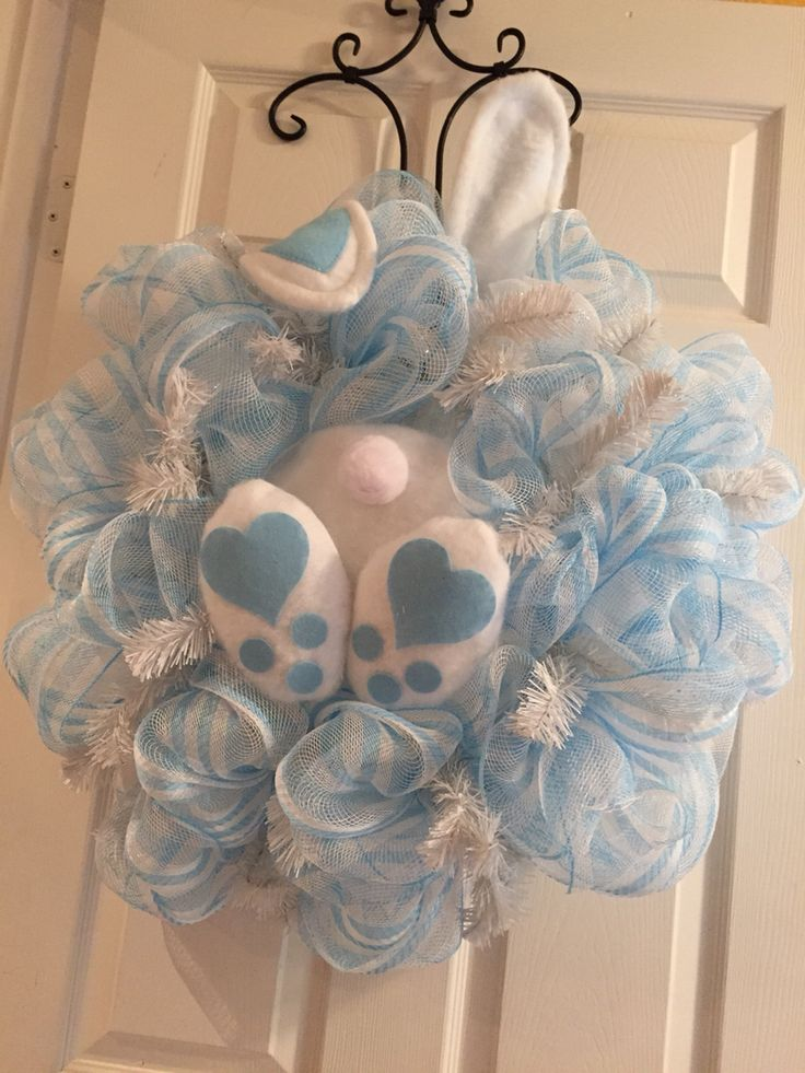 Easter blue bunny booty wreath! I'm still tweaking this one, but wanted to show it off. Again the bunny's feet and ears match. 3/2015